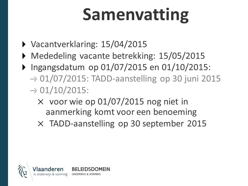 Samenvatting Vacantverklaring: 15/04/2015