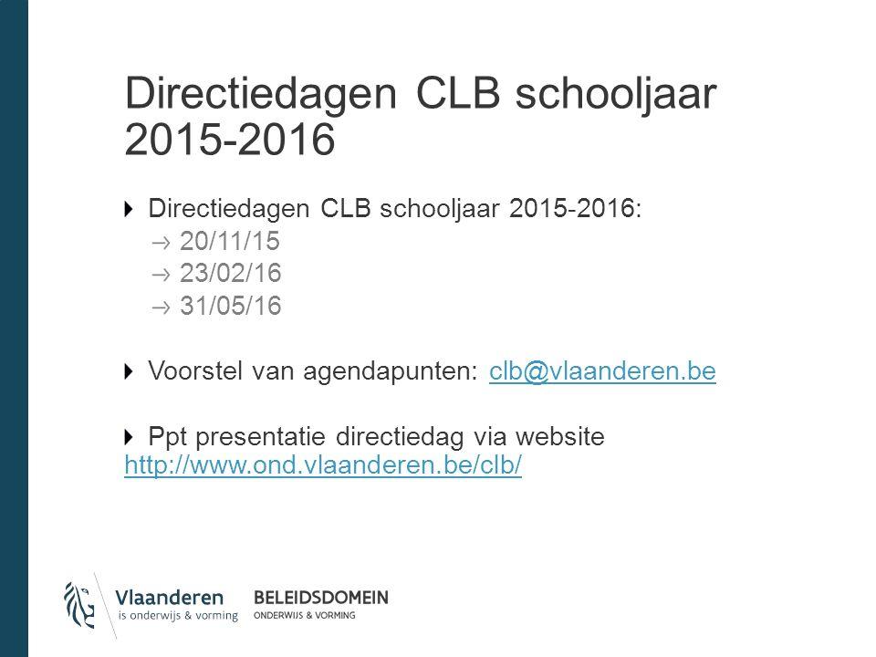 Directiedagen CLB schooljaar 2015-2016