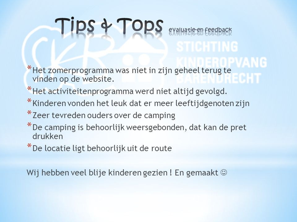 Tips & Tops evaluatie-en feedback