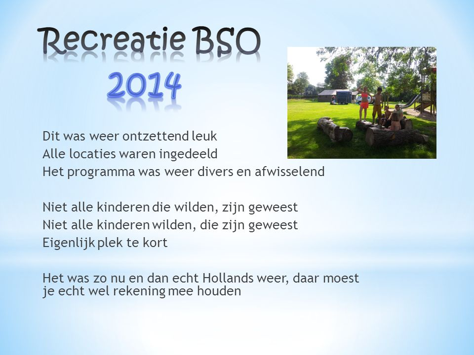 Recreatie BSO 2014.
