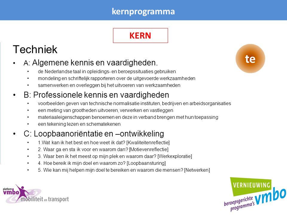 te Techniek kernprogramma KERN B: Professionele kennis en vaardigheden