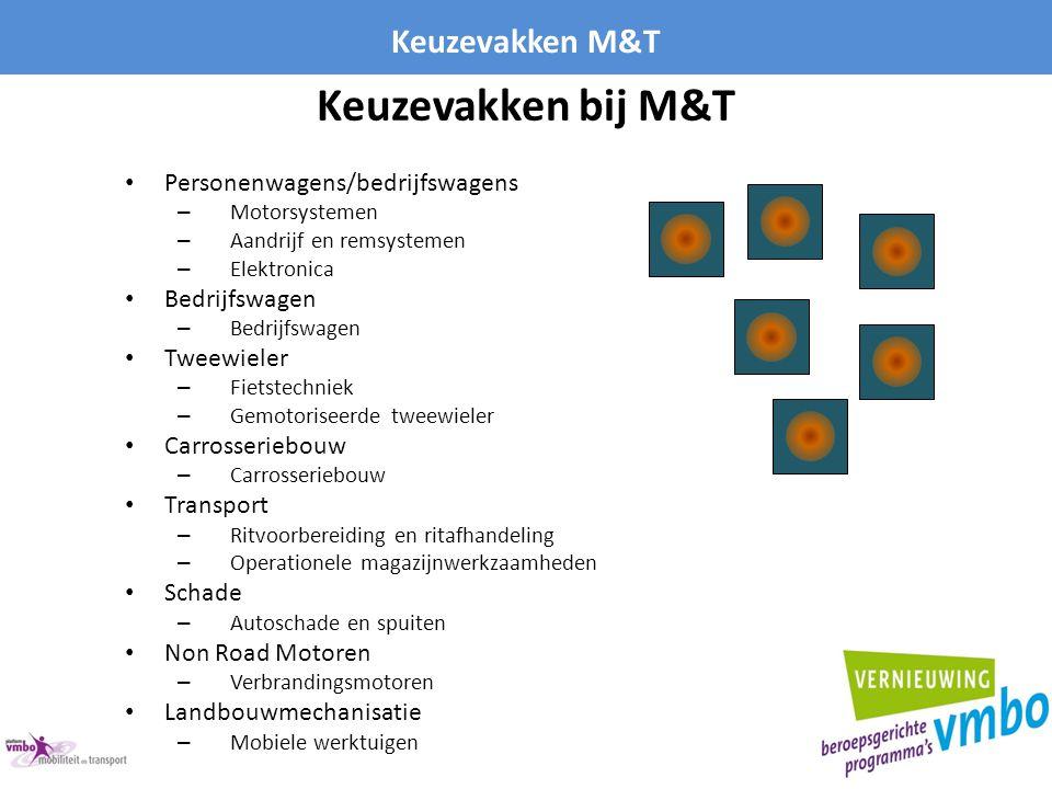 Keuzevakken bij M&T Keuzevakken M&T Personenwagens/bedrijfswagens