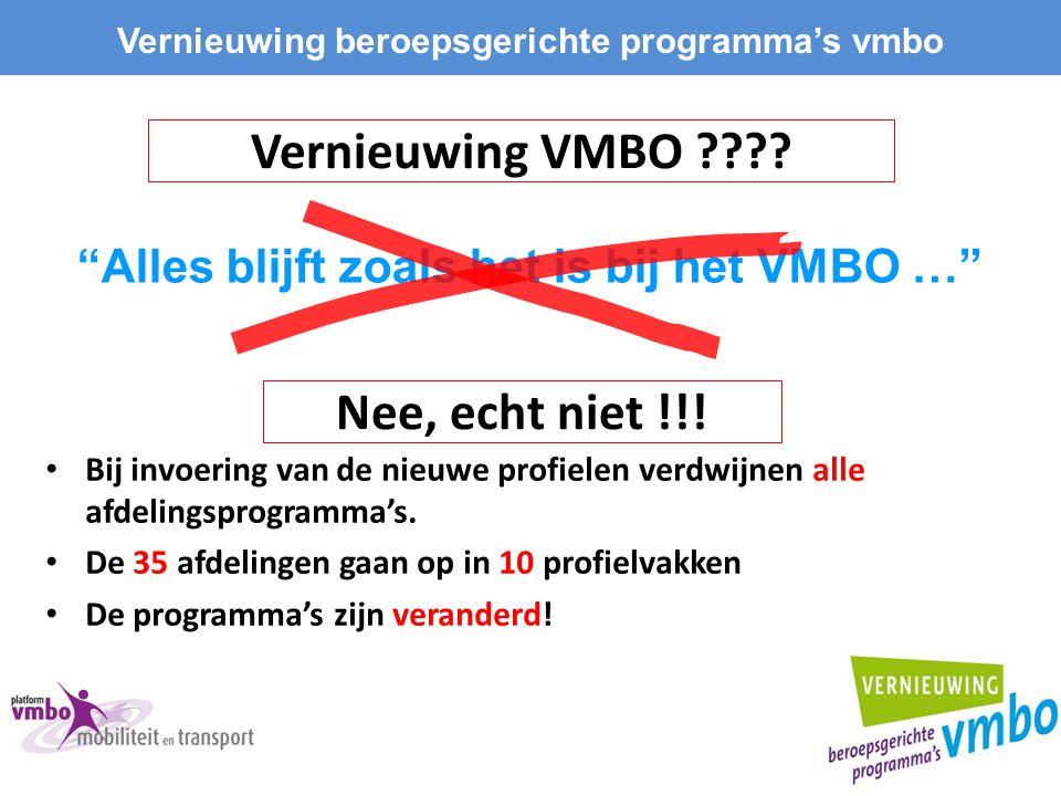 Vernieuwing VMBO Nee, echt niet !!!