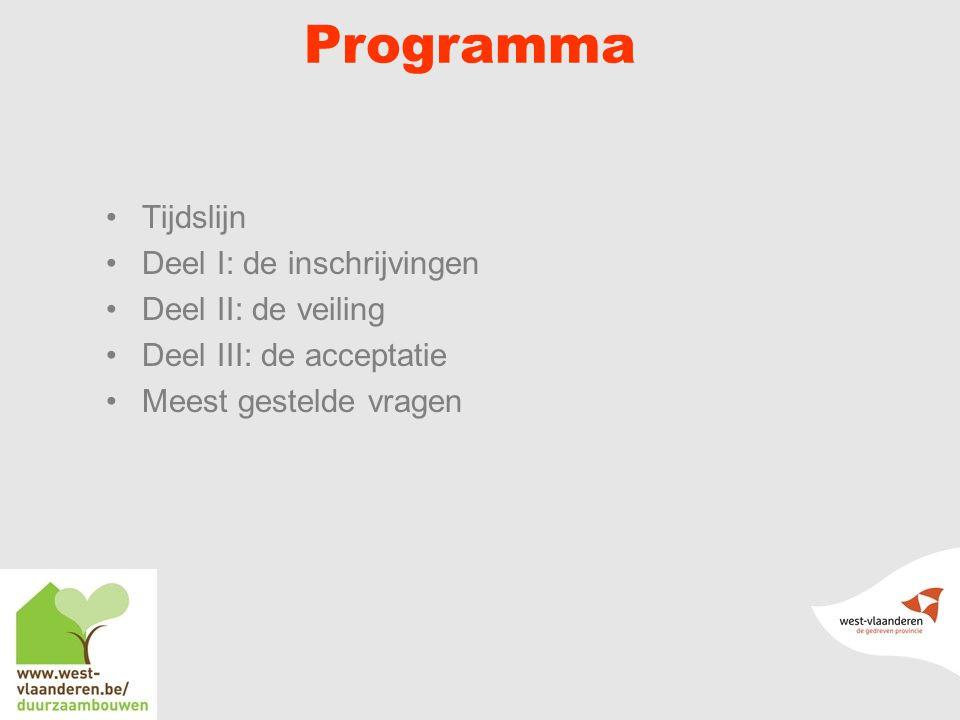 Programma Tijdslijn Deel I: de inschrijvingen Deel II: de veiling