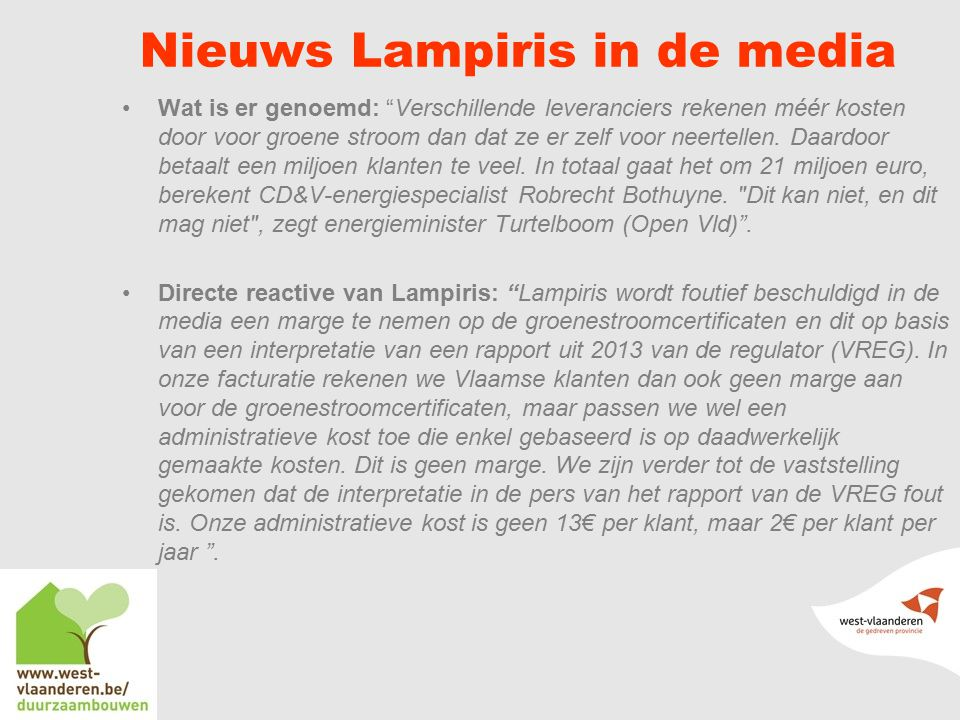 Nieuws Lampiris in de media