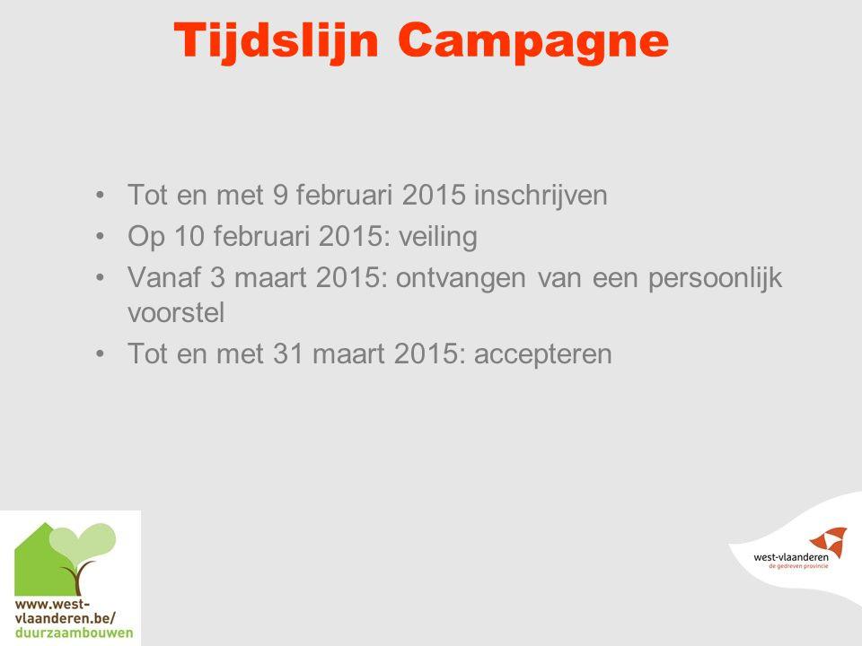 Tijdslijn Campagne Tot en met 9 februari 2015 inschrijven