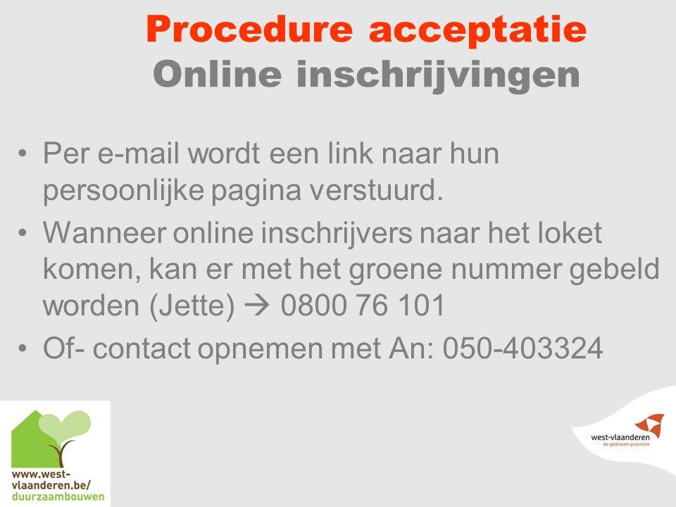 Procedure acceptatie Online inschrijvingen