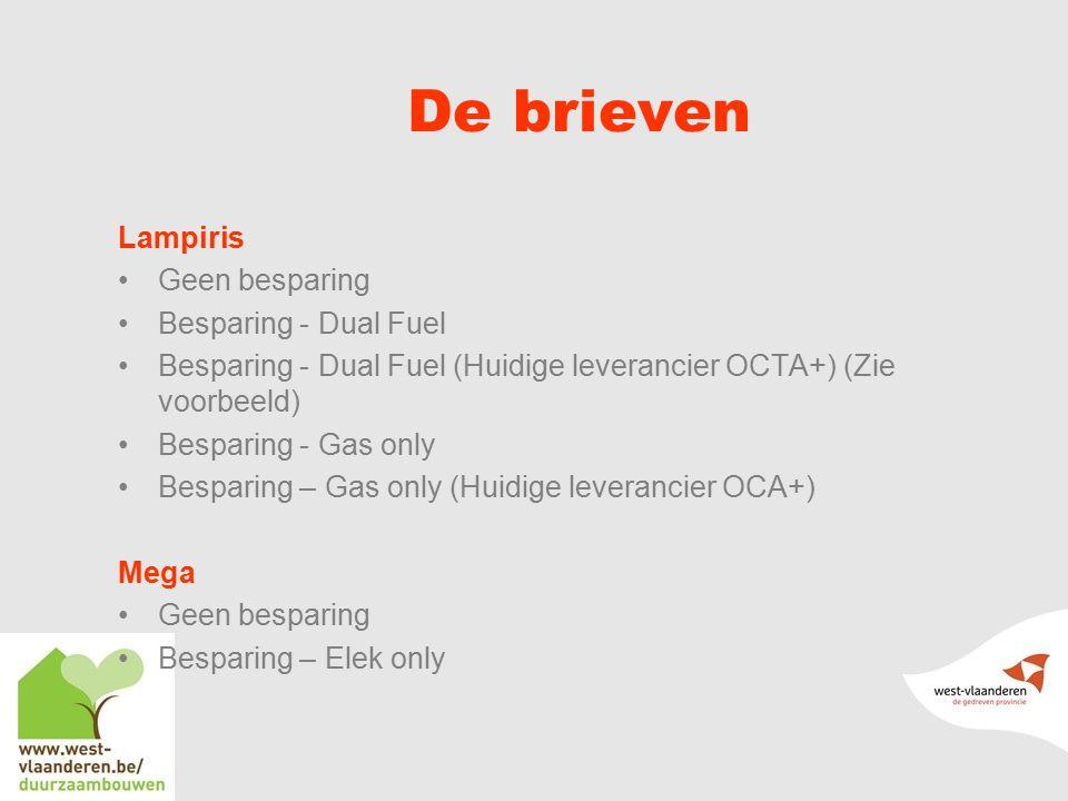 De brieven Lampiris Geen besparing Besparing - Dual Fuel