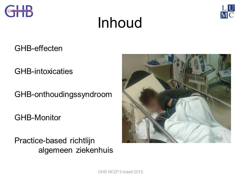 Inhoud GHB-effecten GHB-intoxicaties GHB-onthoudingssyndroom