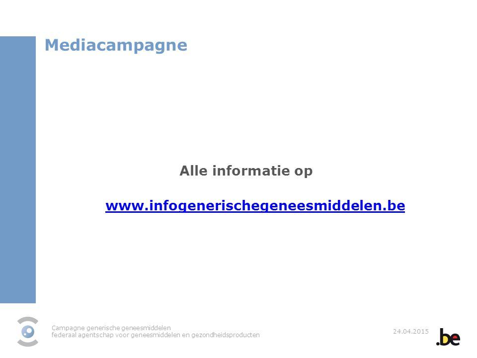 Mediacampagne Alle informatie op www.infogenerischegeneesmiddelen.be