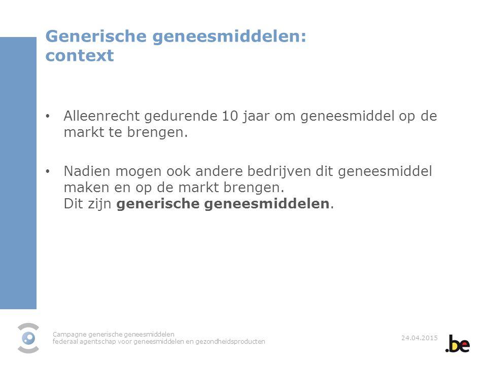 Generische geneesmiddelen: context