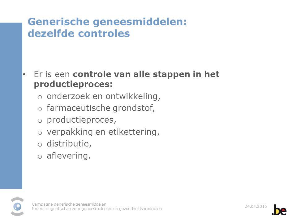 Generische geneesmiddelen: dezelfde controles