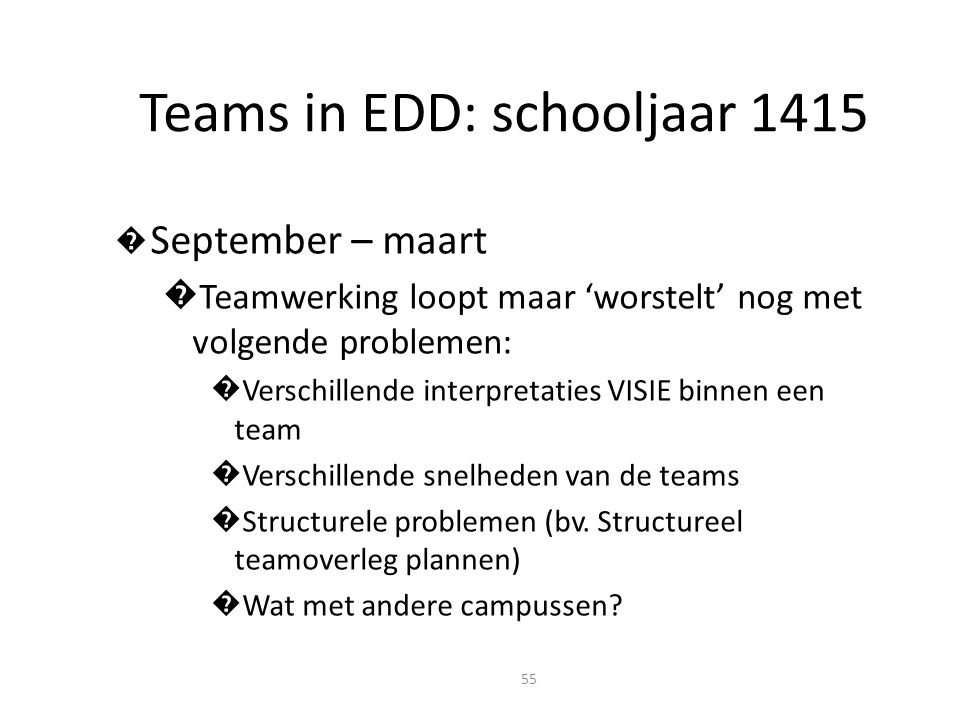 Teams in EDD: schooljaar 1415