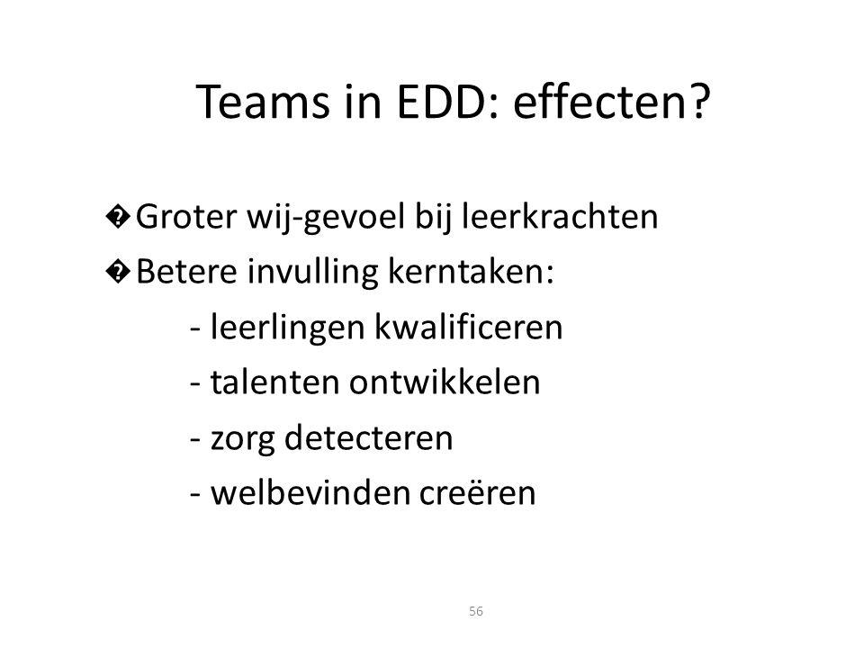 Teams in EDD: effecten Groter wij-gevoel bij leerkrachten
