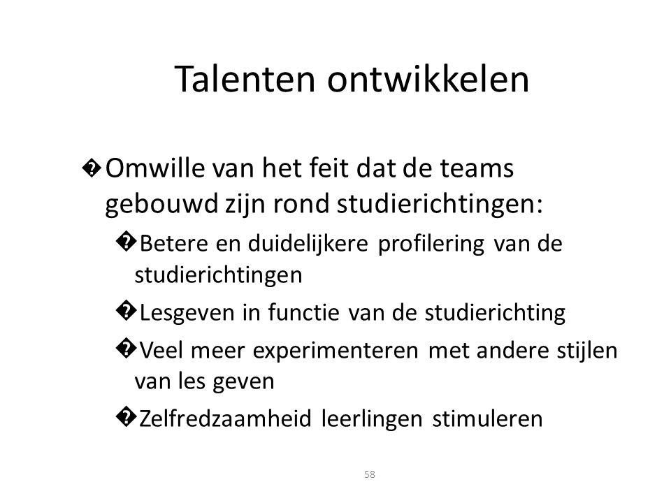 Talenten ontwikkelen Omwille van het feit dat de teams gebouwd zijn rond studierichtingen:
