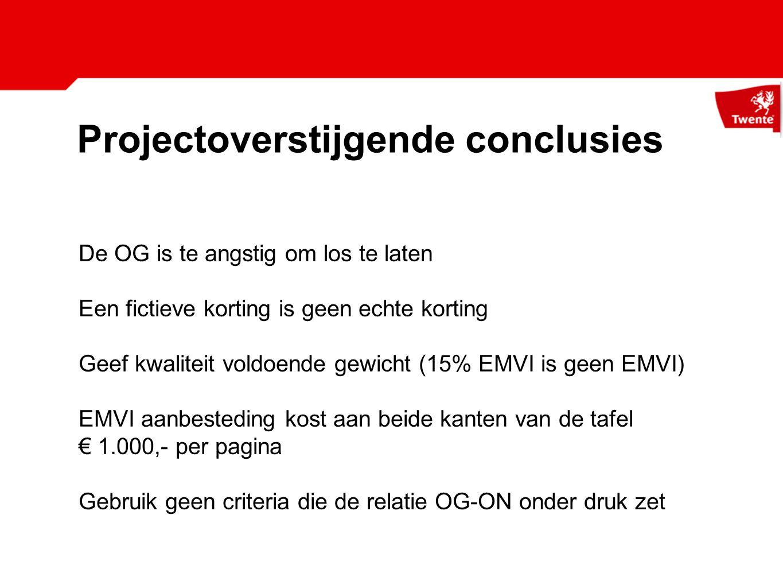 Projectoverstijgende conclusies
