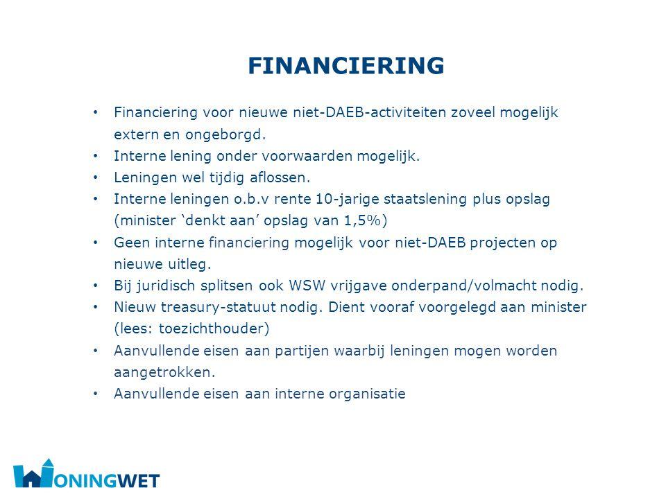 financiering Financiering voor nieuwe niet-DAEB-activiteiten zoveel mogelijk extern en ongeborgd. Interne lening onder voorwaarden mogelijk.