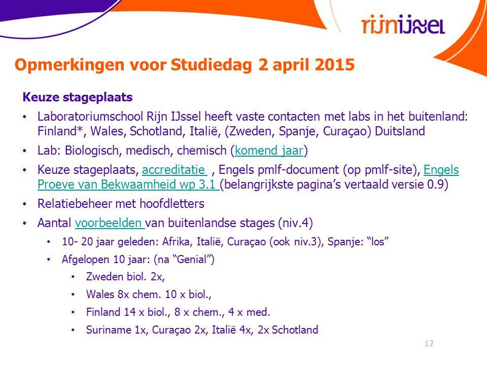 Opmerkingen voor Studiedag 2 april 2015