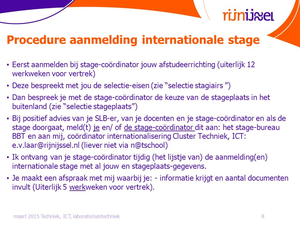 Procedure aanmelding internationale stage