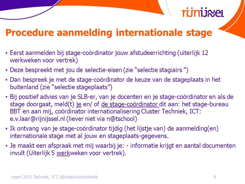 Procedure aanmelding internationale stage