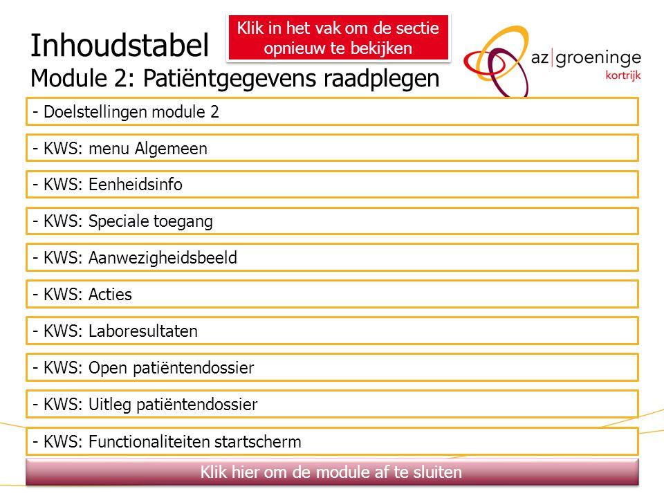 Inhoudstabel Module 2: Patiëntgegevens raadplegen