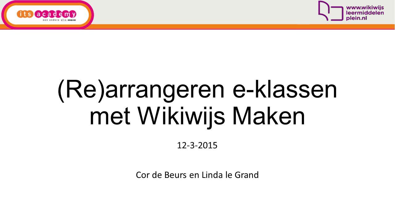 (Re)arrangeren e-klassen met Wikiwijs Maken