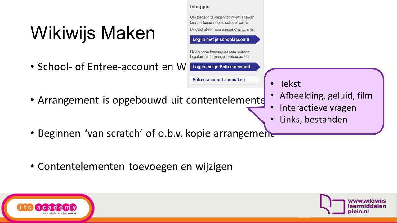 Wikiwijs Maken School- of Entree-account en Wikiwijs profiel