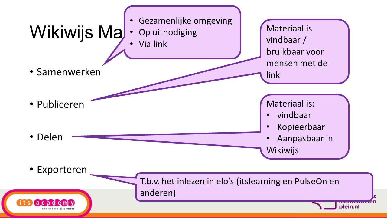 Wikiwijs Maken Samenwerken Publiceren Delen Exporteren