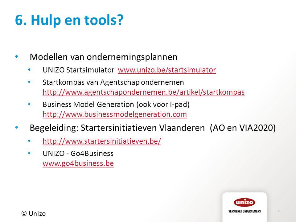 6. Hulp en tools Modellen van ondernemingsplannen