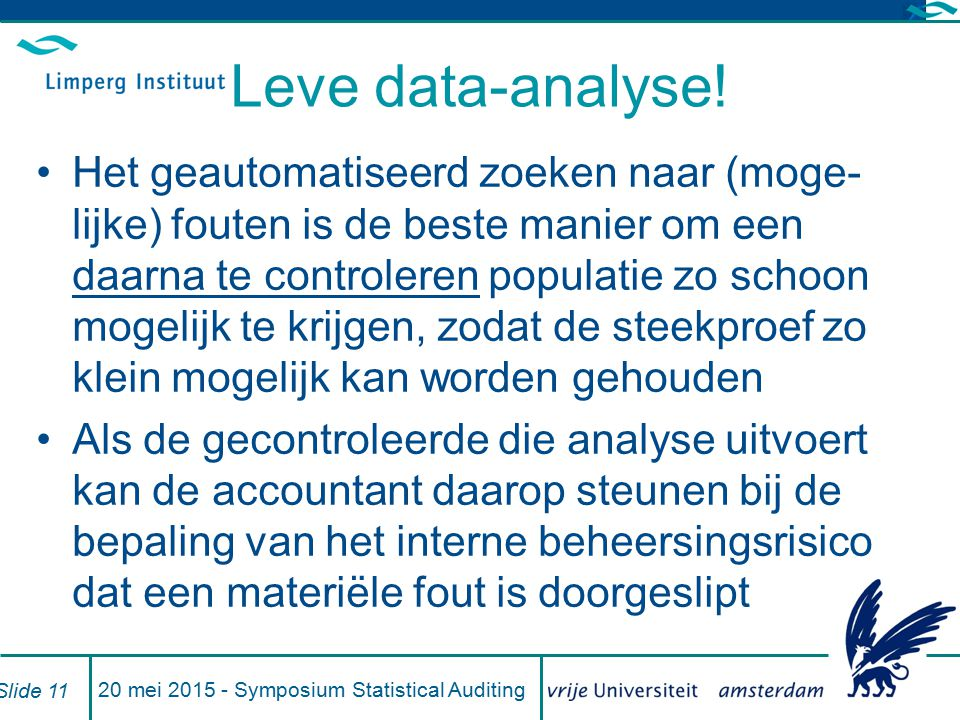 20 mei 2015 - Symposium Statistical Auditing