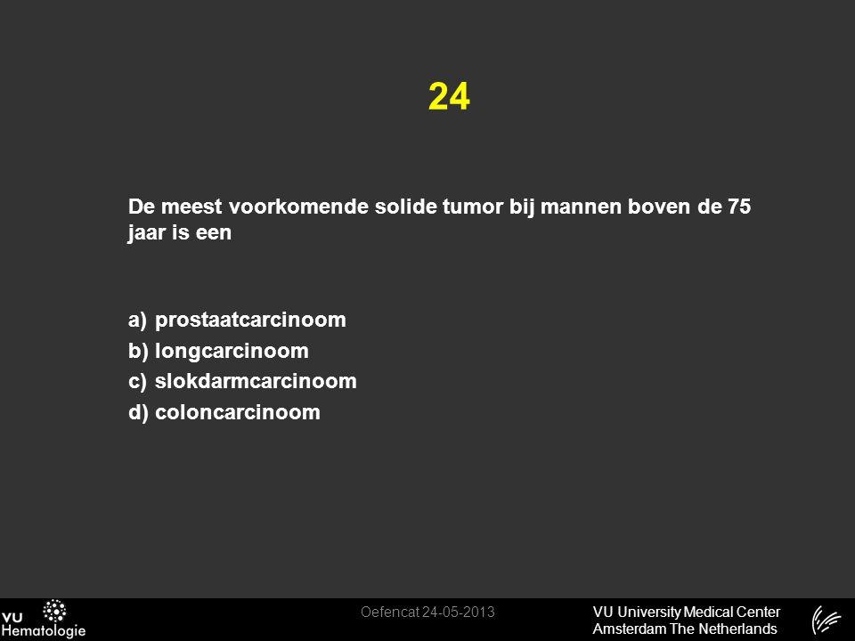 24 De meest voorkomende solide tumor bij mannen boven de 75 jaar is een. prostaatcarcinoom. longcarcinoom.