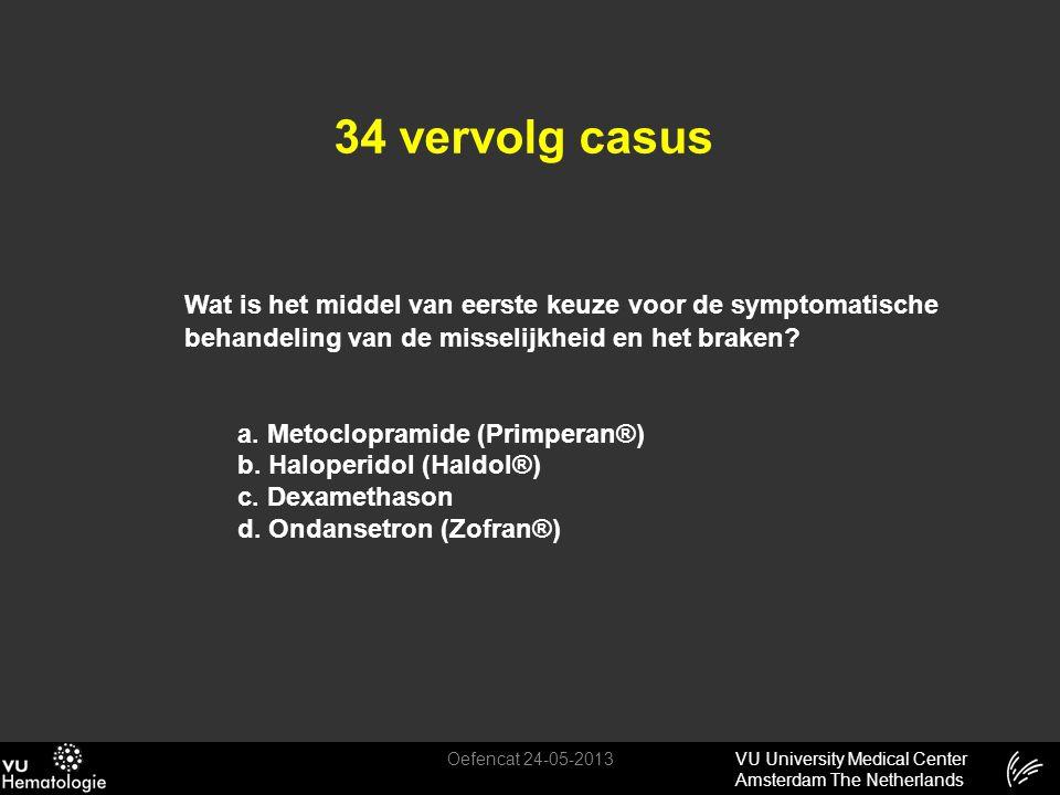 34 vervolg casus Wat is het middel van eerste keuze voor de symptomatische behandeling van de misselijkheid en het braken