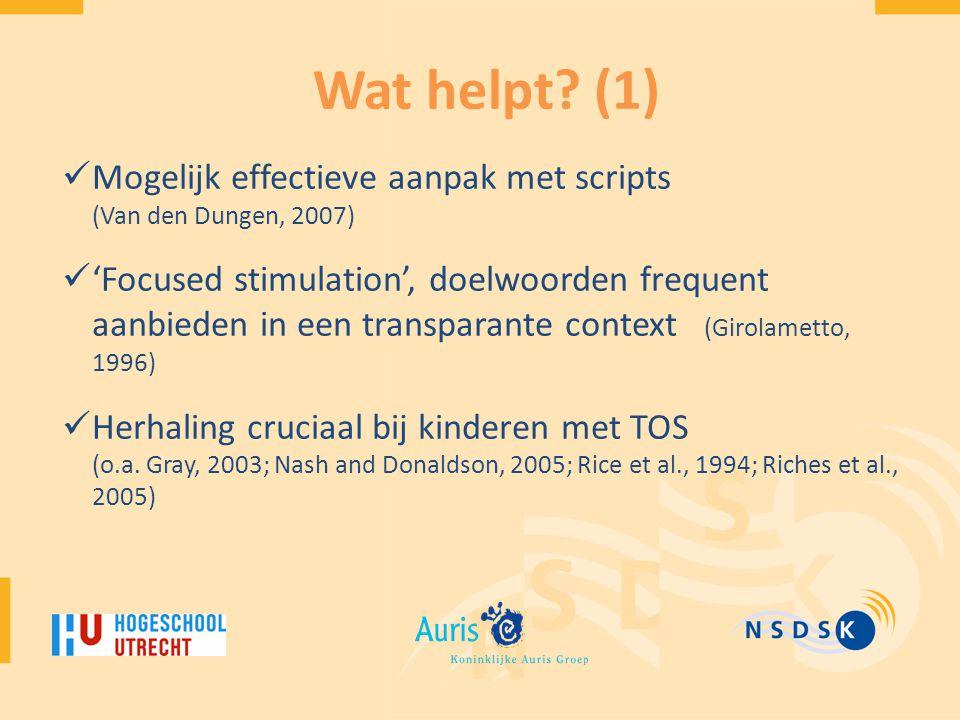 Wat helpt (1) Mogelijk effectieve aanpak met scripts (Van den Dungen, 2007)