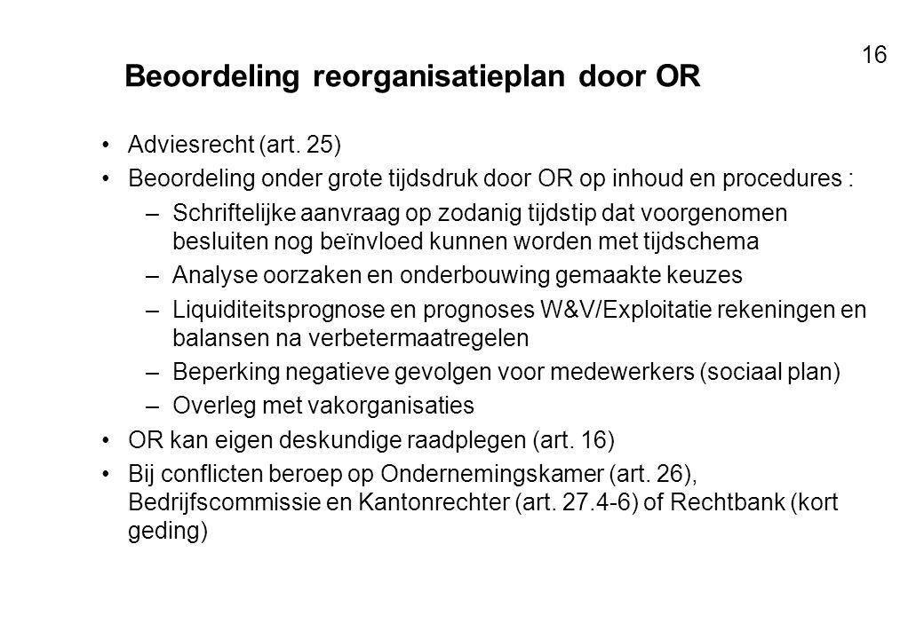 Beoordeling reorganisatieplan door OR