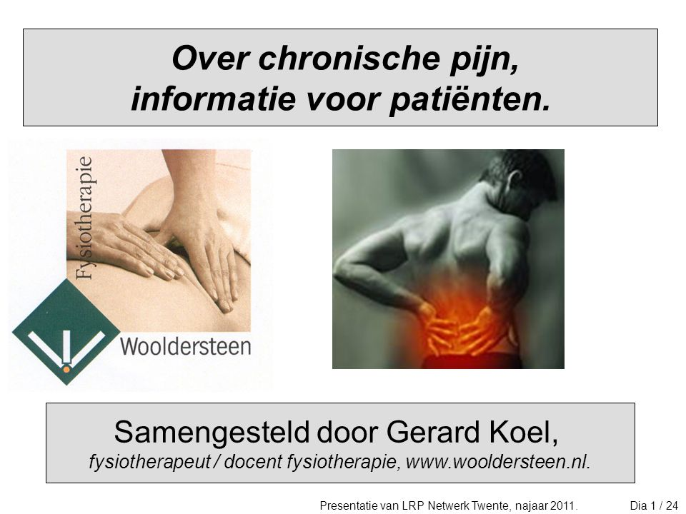 Over chronische pijn, informatie voor patiënten.