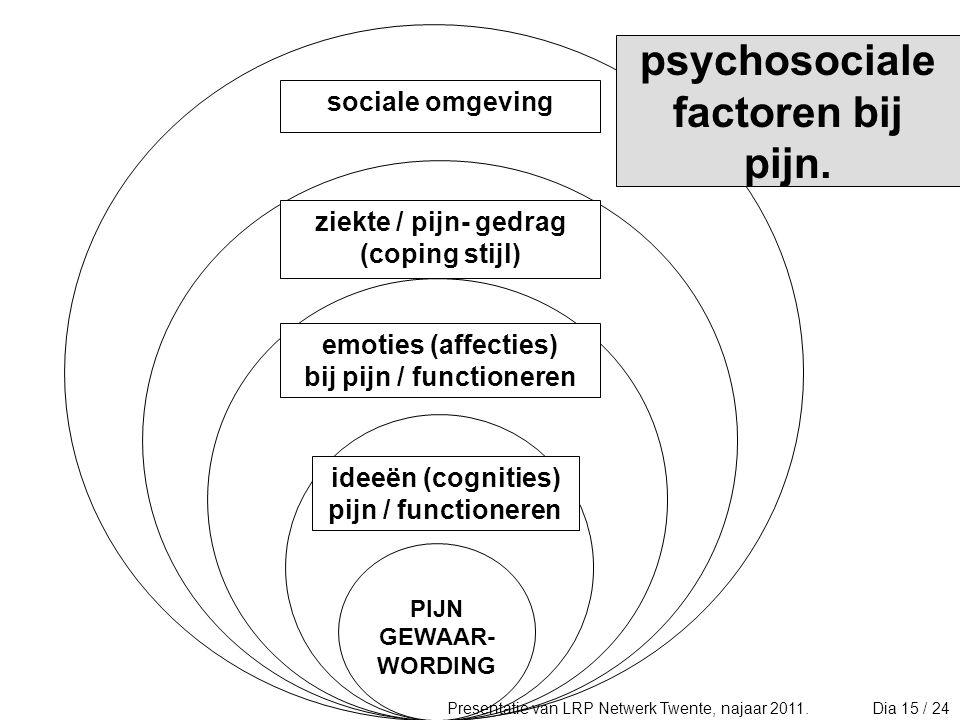 bij pijn / functioneren ideeën (cognities) pijn / functioneren