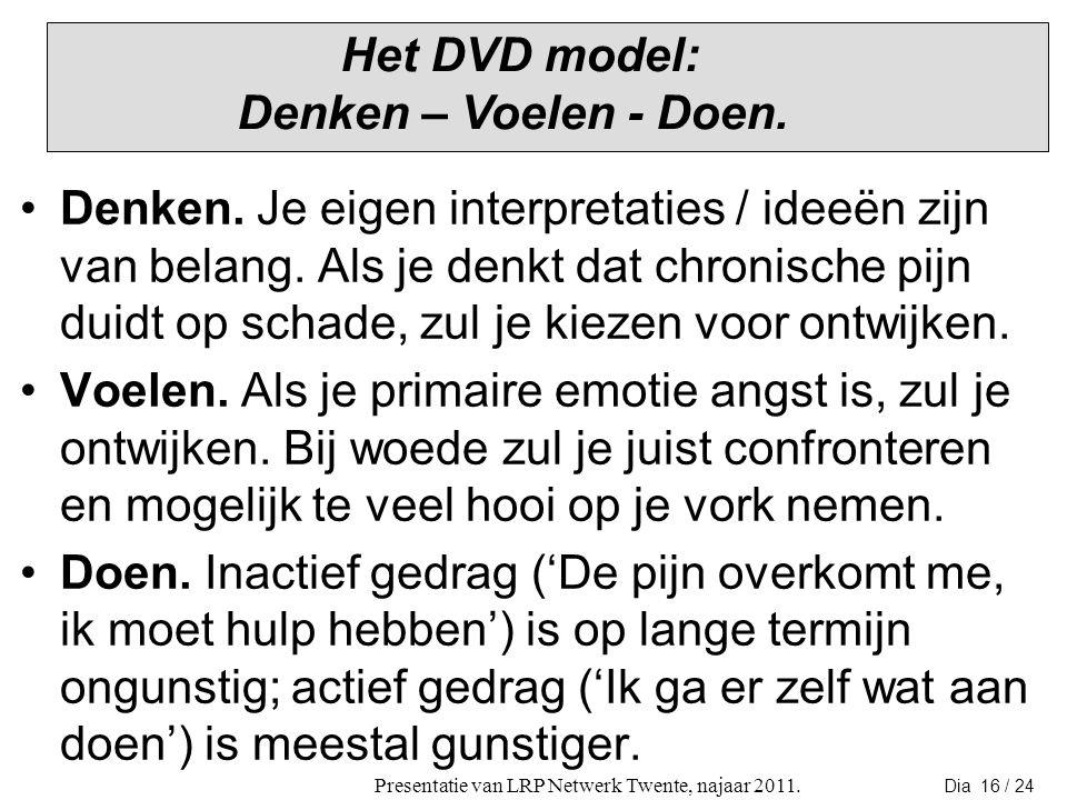Het DVD model: Denken – Voelen - Doen.