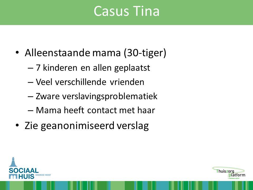 Casus Tina Alleenstaande mama (30-tiger) Zie geanonimiseerd verslag
