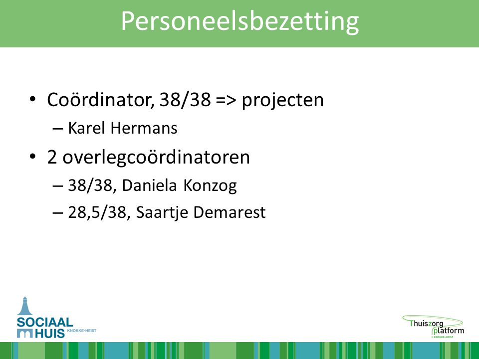 Personeelsbezetting Coördinator, 38/38 => projecten