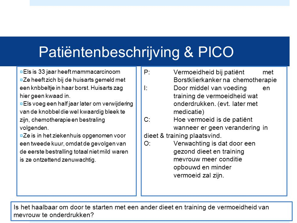 Patiëntenbeschrijving & PICO