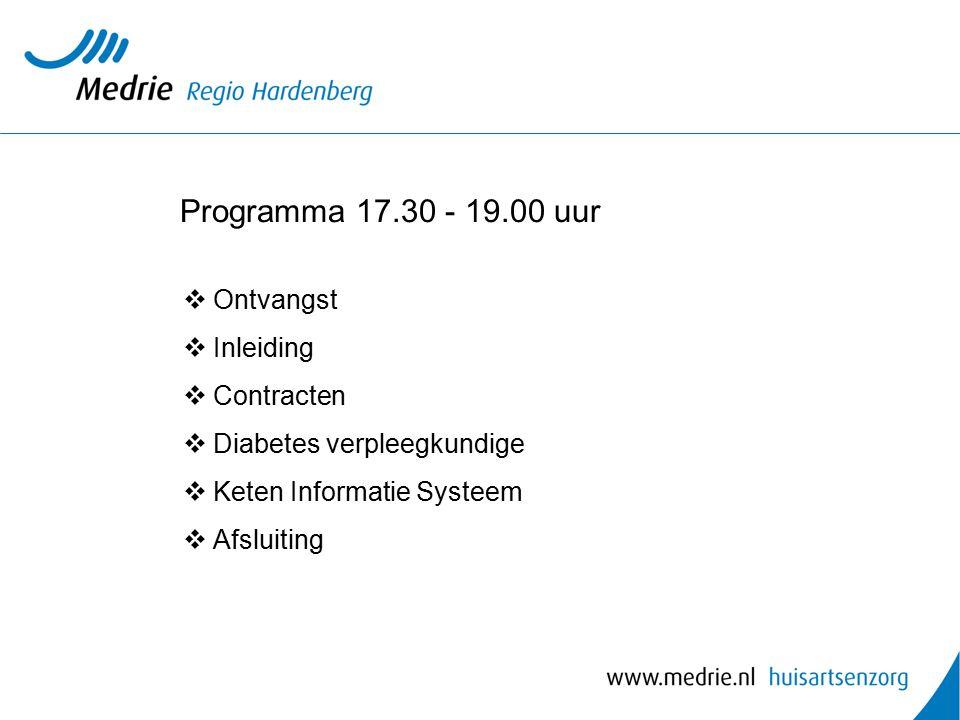 Programma 17.30 - 19.00 uur Ontvangst Inleiding Contracten