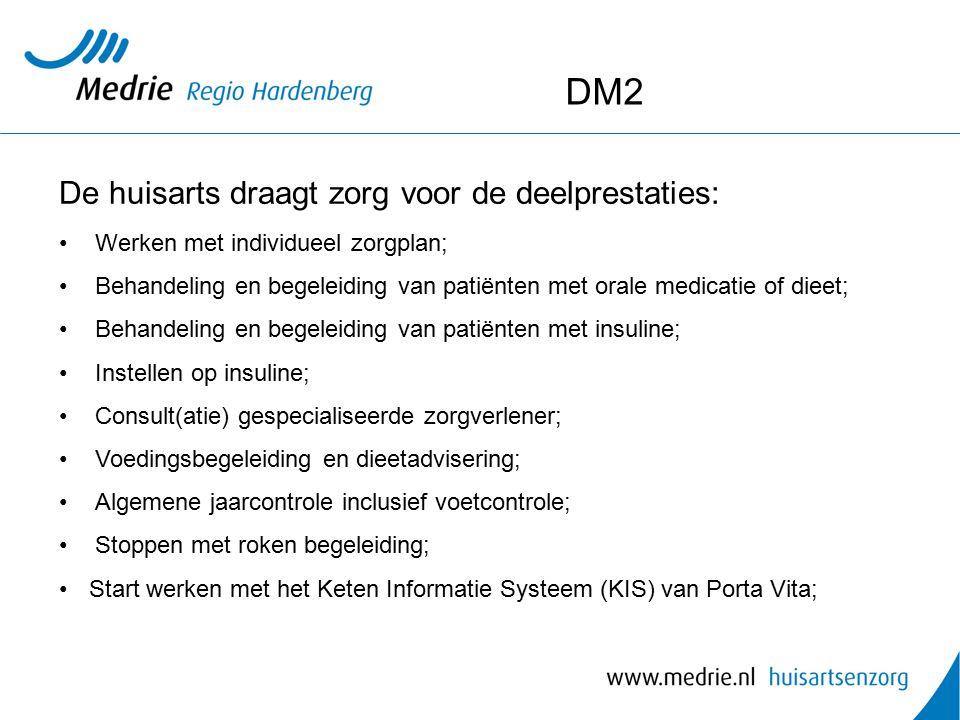 DM2 De huisarts draagt zorg voor de deelprestaties: