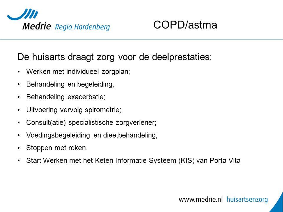 COPD/astma De huisarts draagt zorg voor de deelprestaties: