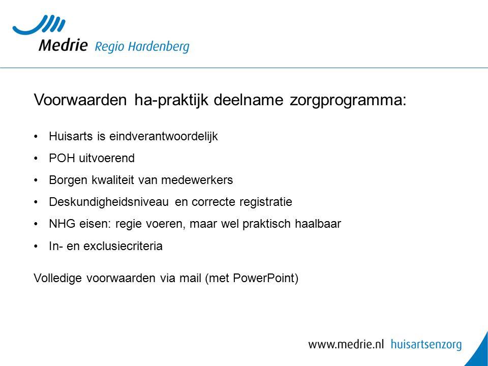 Voorwaarden ha-praktijk deelname zorgprogramma: