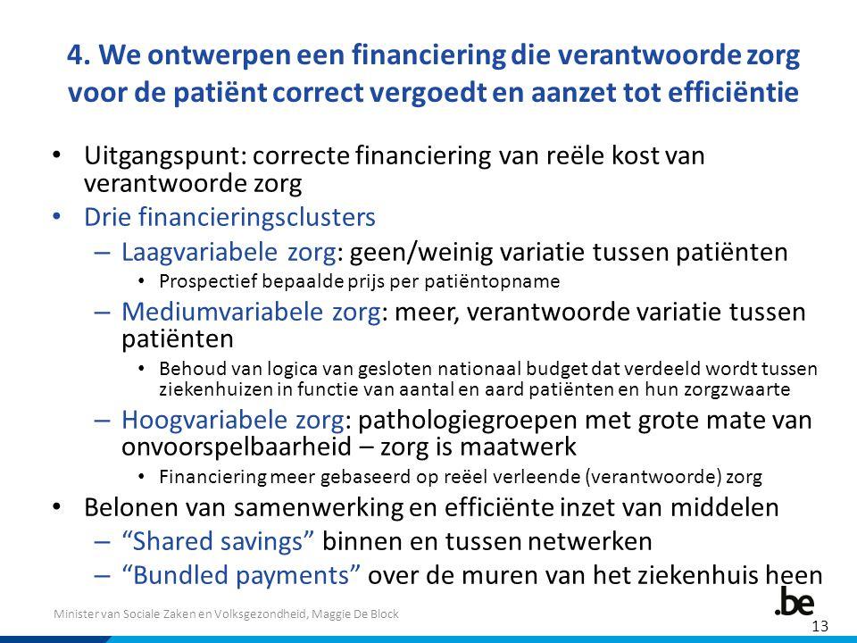 4. We ontwerpen een financiering die verantwoorde zorg voor de patiënt correct vergoedt en aanzet tot efficiëntie