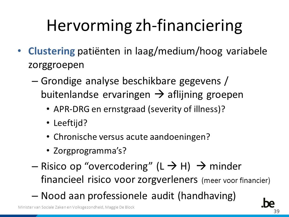 Hervorming zh-financiering