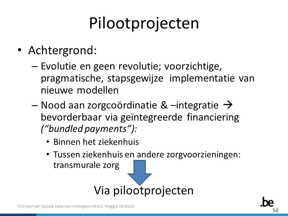 Pilootprojecten Achtergrond: Via pilootprojecten