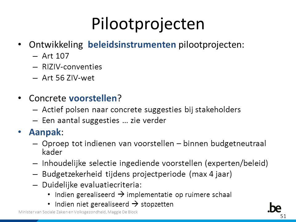 Pilootprojecten Ontwikkeling beleidsinstrumenten pilootprojecten: