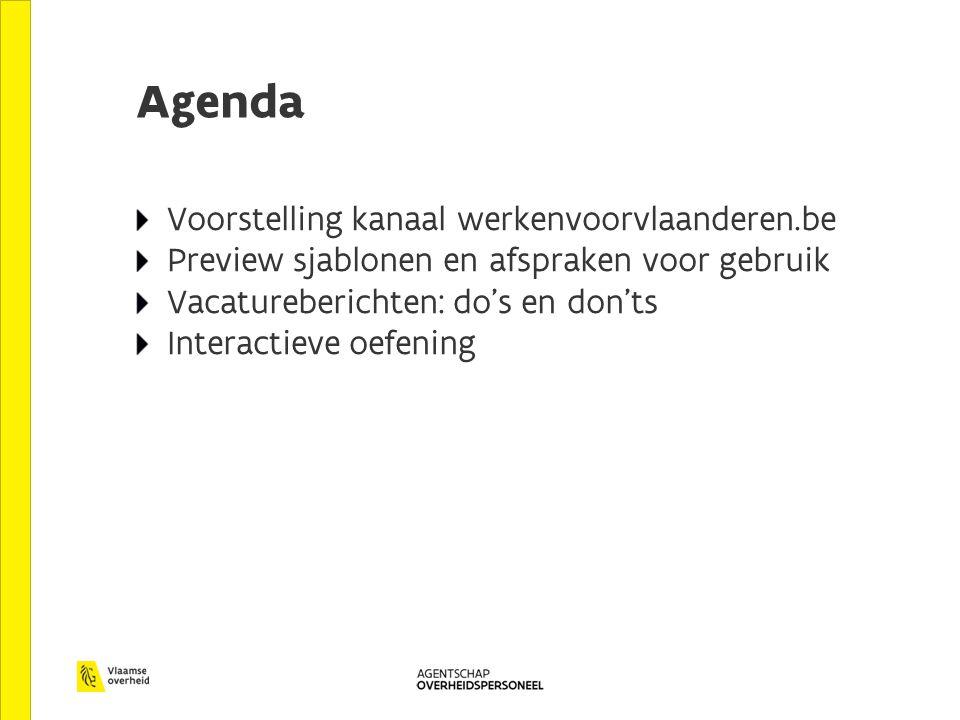 Agenda Voorstelling kanaal werkenvoorvlaanderen.be