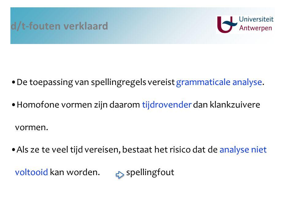 d/t-fouten verklaard De toepassing van spellingregels vereist grammaticale analyse.